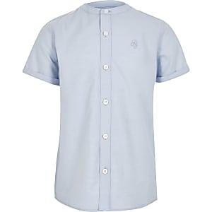 Chemise en sergé bleue à col grand-père pour garçon