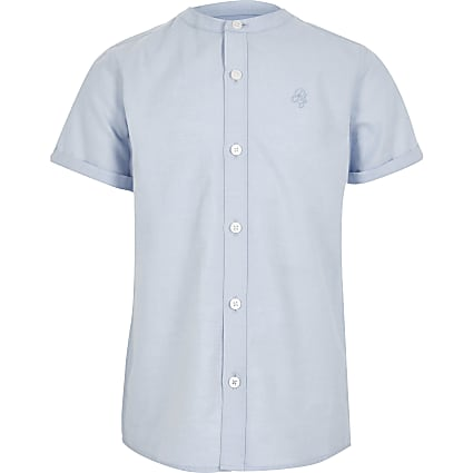 Boys blue grandad collar twill shirt