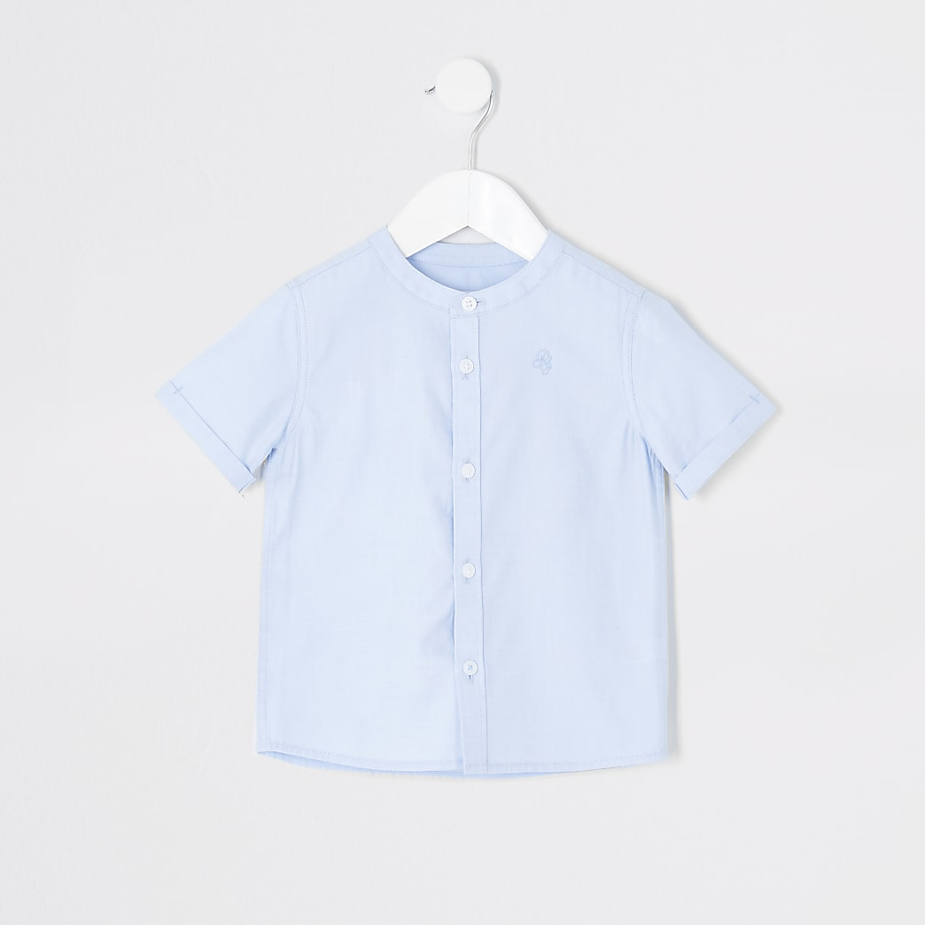Mini boys blue grandad collar twill shirt