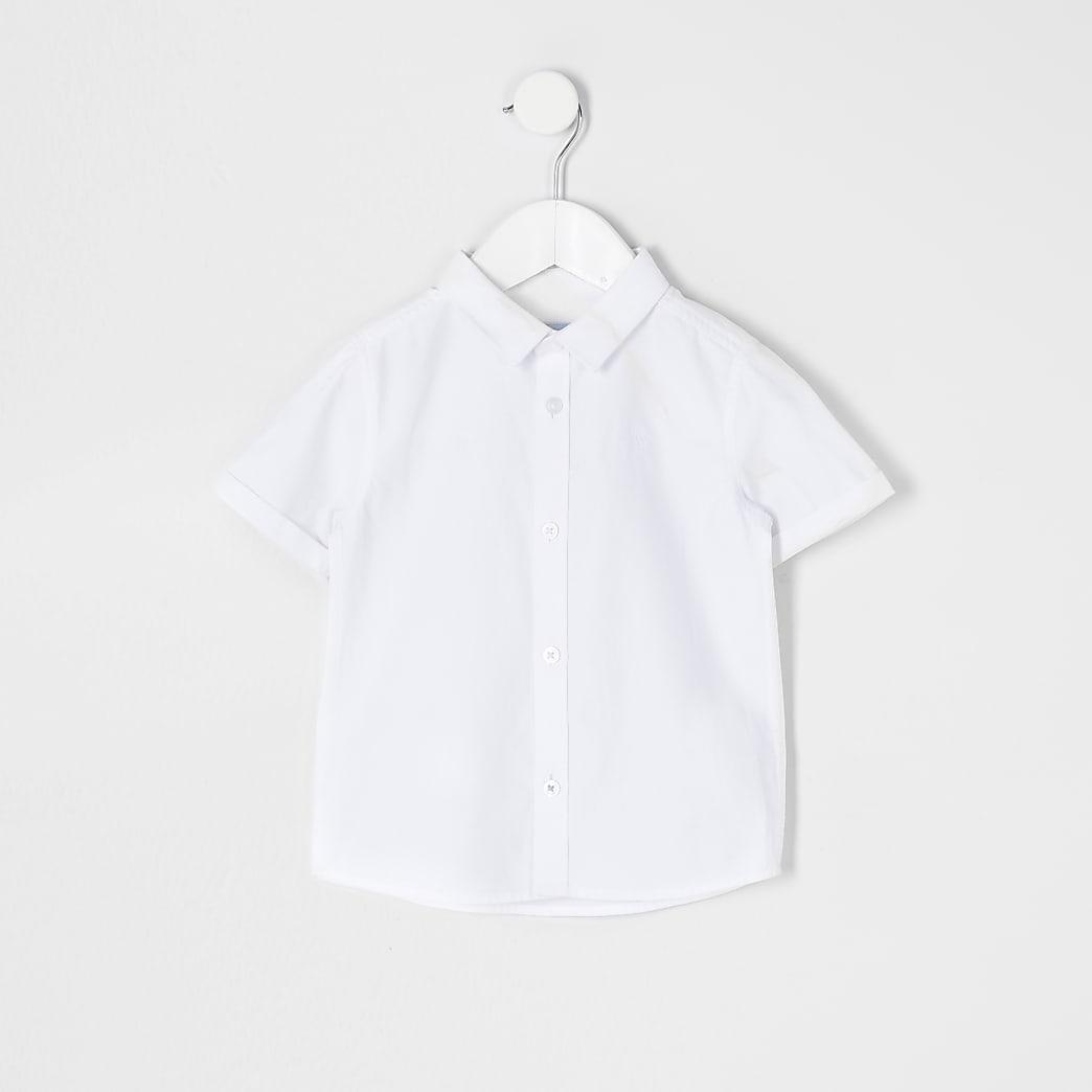 Mini boys white short sleeve twill shirt