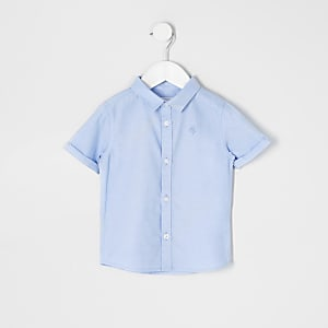 Mini – Blaues, kurzärmeliges Twill-Hemd für Jungen
