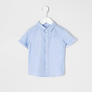 Mini -Blauw overhemd van keperstof met korte mouwen voor jongens