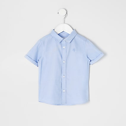 Mini boys blue short sleeve twill shirt
