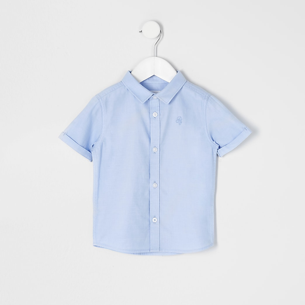 Mini boys blue short sleeve twill shirt