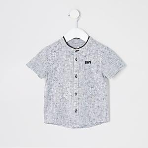 Mini – Graues, strukturiertes Hemd mit Grandad-Kragen für Jungen