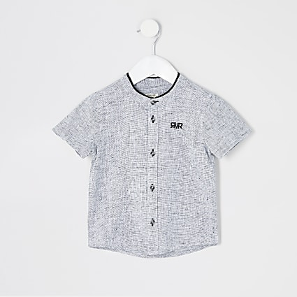 Mini boys grey textured grandad collar shirt