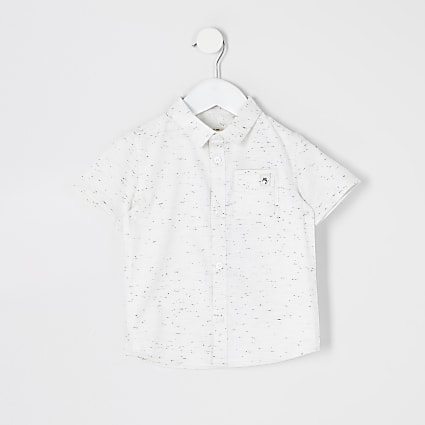 Mini boys ecru neppy Maison Riviera shirt