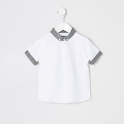 Mini boys white check button collar shirt