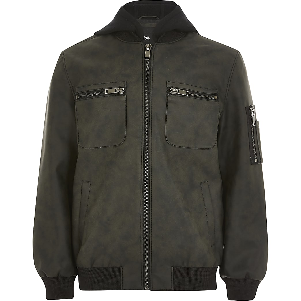 Boys dark grey faux leather hood jacket