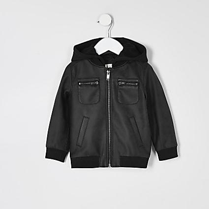 Mini boys dark grey faux leather hood jacket