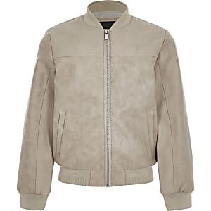 Boys stone faux leather bomber jacket