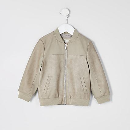 Mini boys stone faux leather bomber jacket