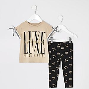 Ensemble avec t-shirt beige imprimé« Luxe » Mini fille