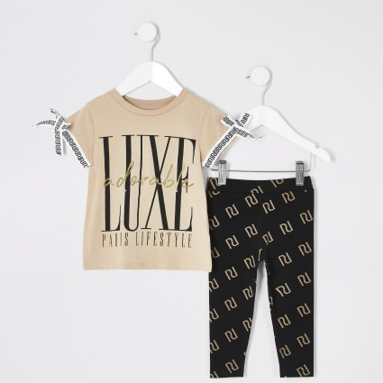Mini girls 'Luxe' printed T-shirt outfit
