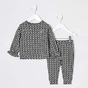 Mini – Schwarzes Sweatshirt-Outfit mit Jacquard-Muster für Mädchen