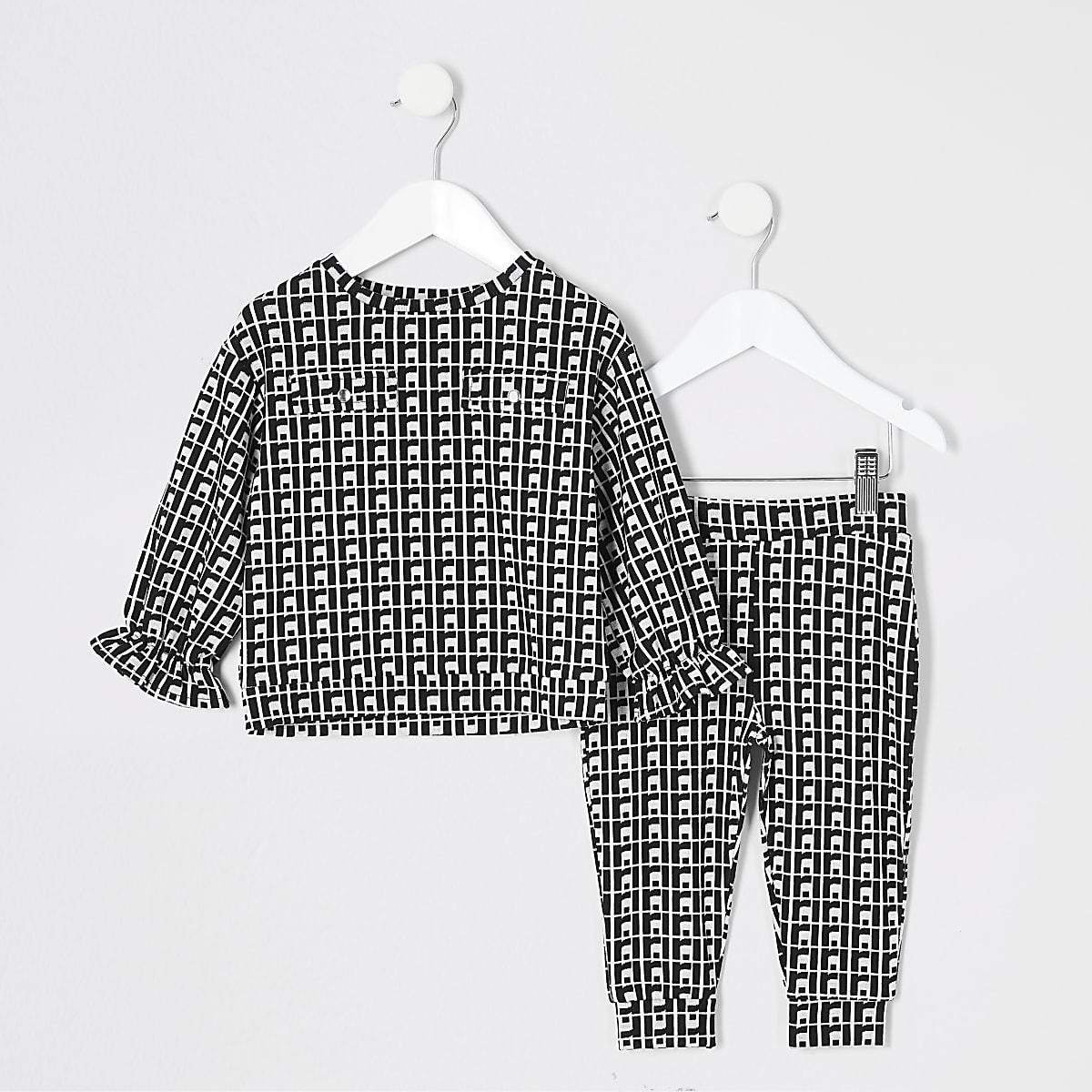 Mini girls black jacquard sweatshirt outfit
