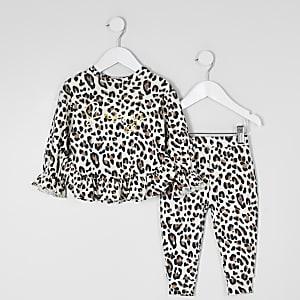 Mini – Bequemes Sweatshirt-Outfit mit Leoparden-Print für Mädchen
