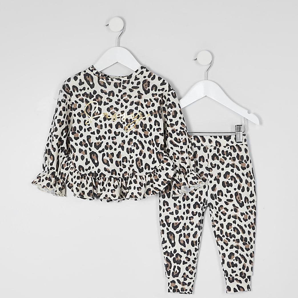 Mini - Sweater outfit met luipaardprint en 'sassy'-tekst voor meisjes