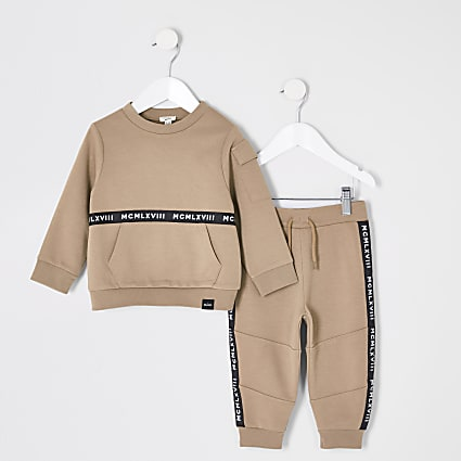 Mini boys stone tape sweatshirt outfit