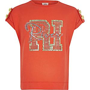 Rood T-shirt met RI-glitterprint voor meisjes