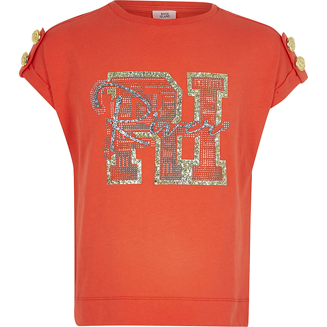 Girls red RI glitter print T-shirt