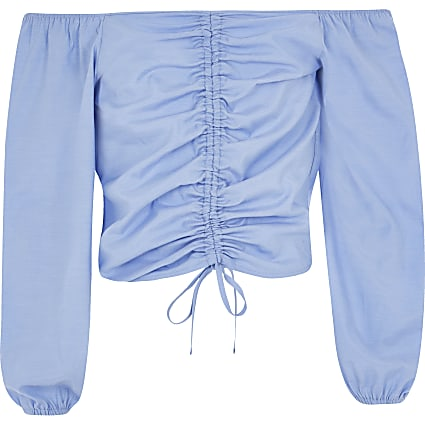 Girls blue ruched long sleeve bardot top
