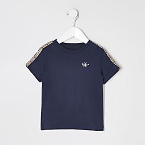 Mini garçon - T-shirt  bleu marine manches courtes à bande