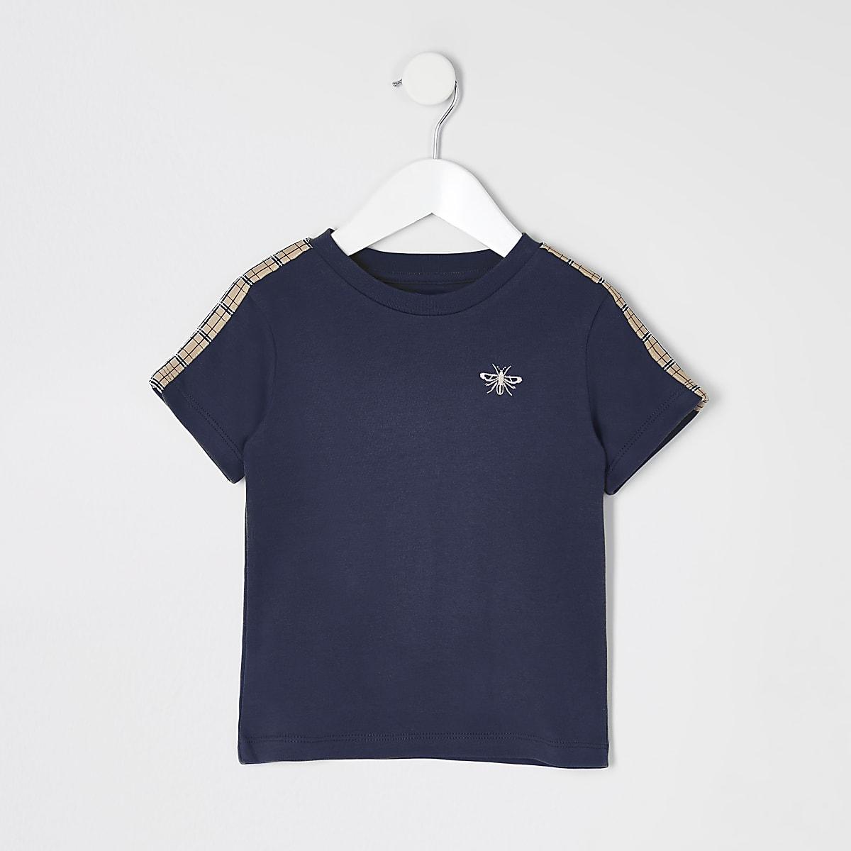 Mini boys navy tape short sleeve T-shirt