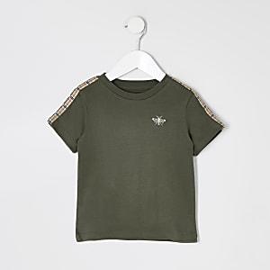 T-shirt kaki à manches courtes et bande latéraleMini garçon