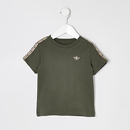 Mini boys khaki tape short sleeve T-shirt
