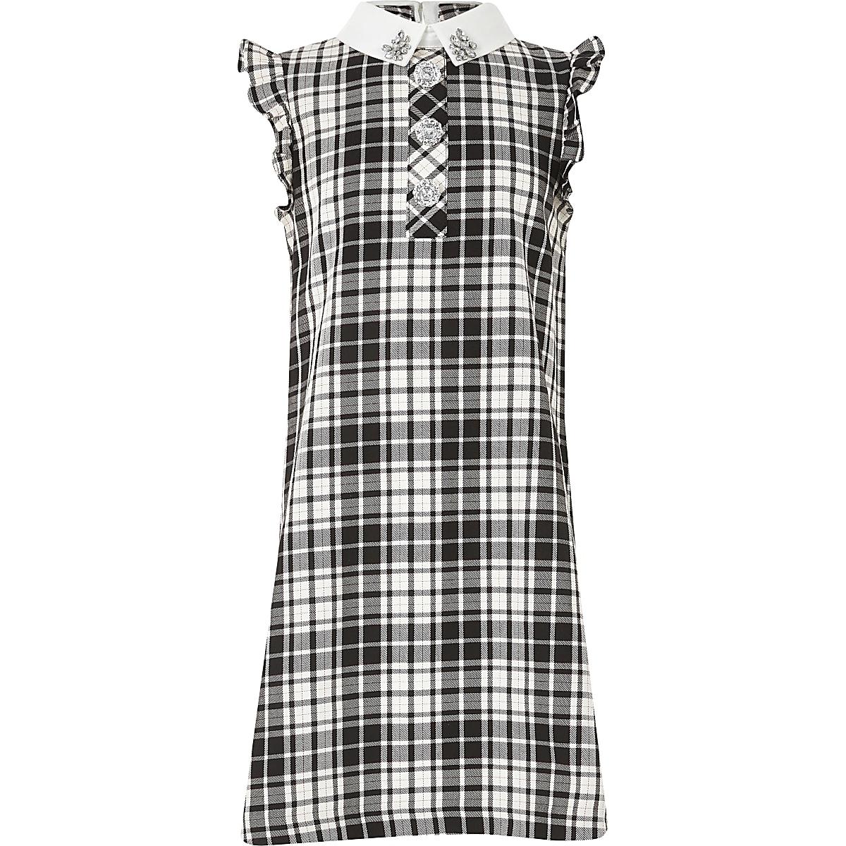 Girls black monochrome check shirt dress