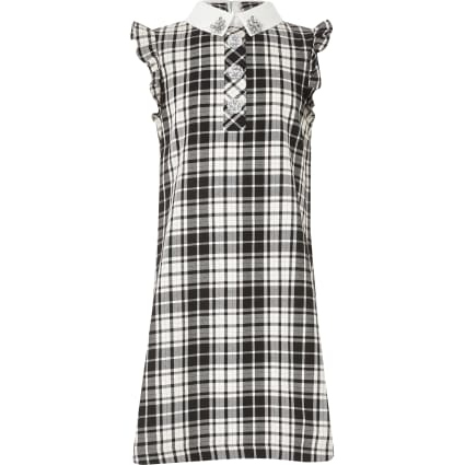 Girls black monochrome check shirt dress