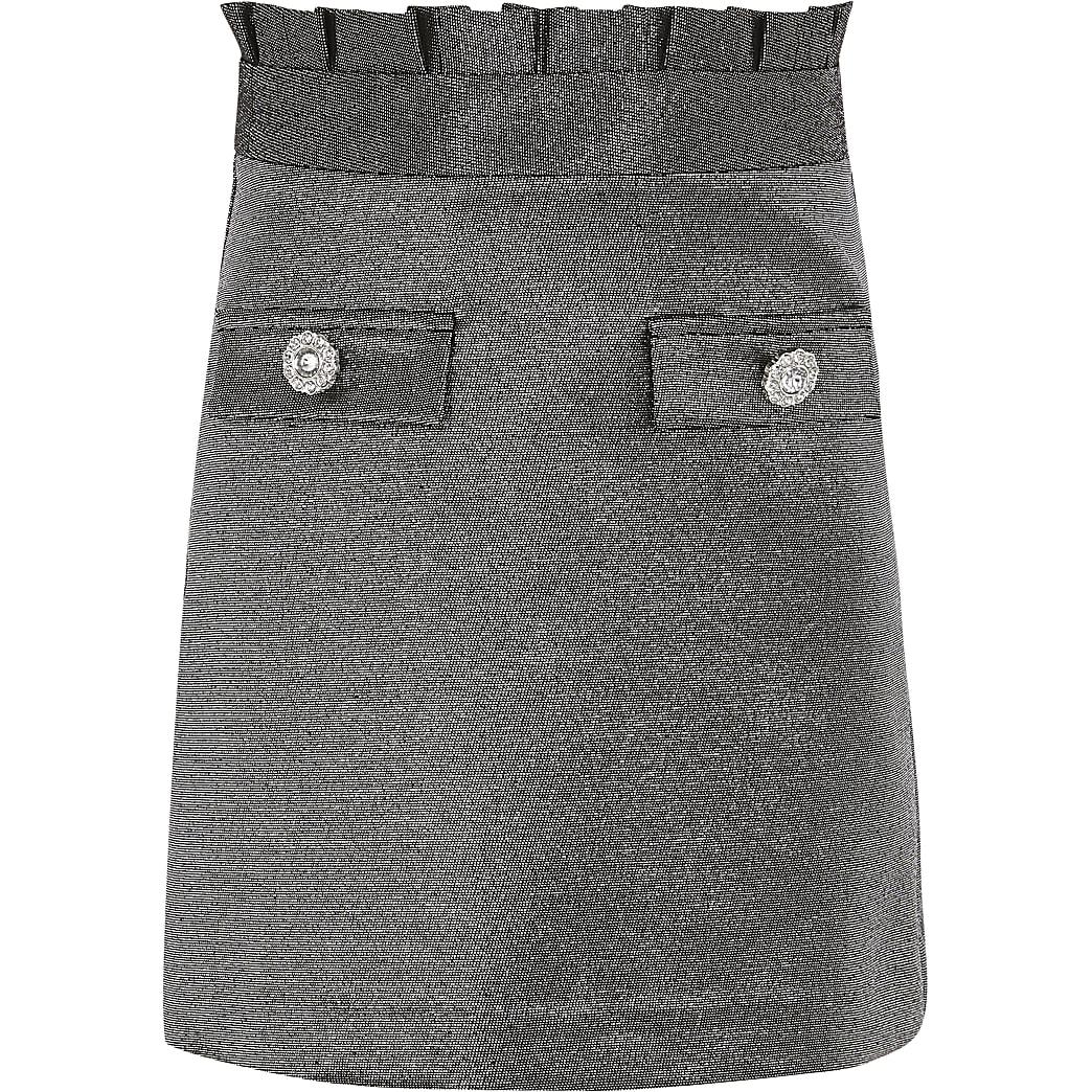 Girls silver metallic paperbag skirt