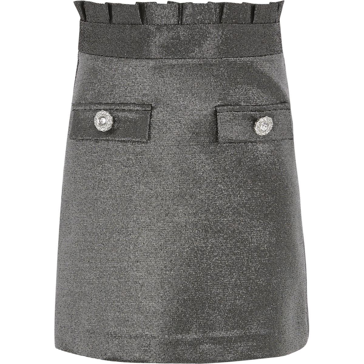 Zilver metallic rok met geplooide taille voor meisjes