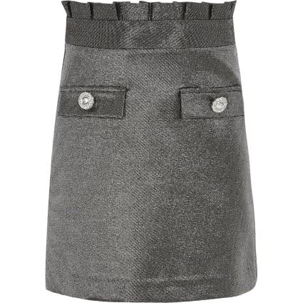 Girls silver metallic paperbag skirt