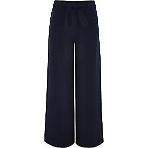 Marineblauwe broek met wijde pijpen en strikceintuur voor meisjes