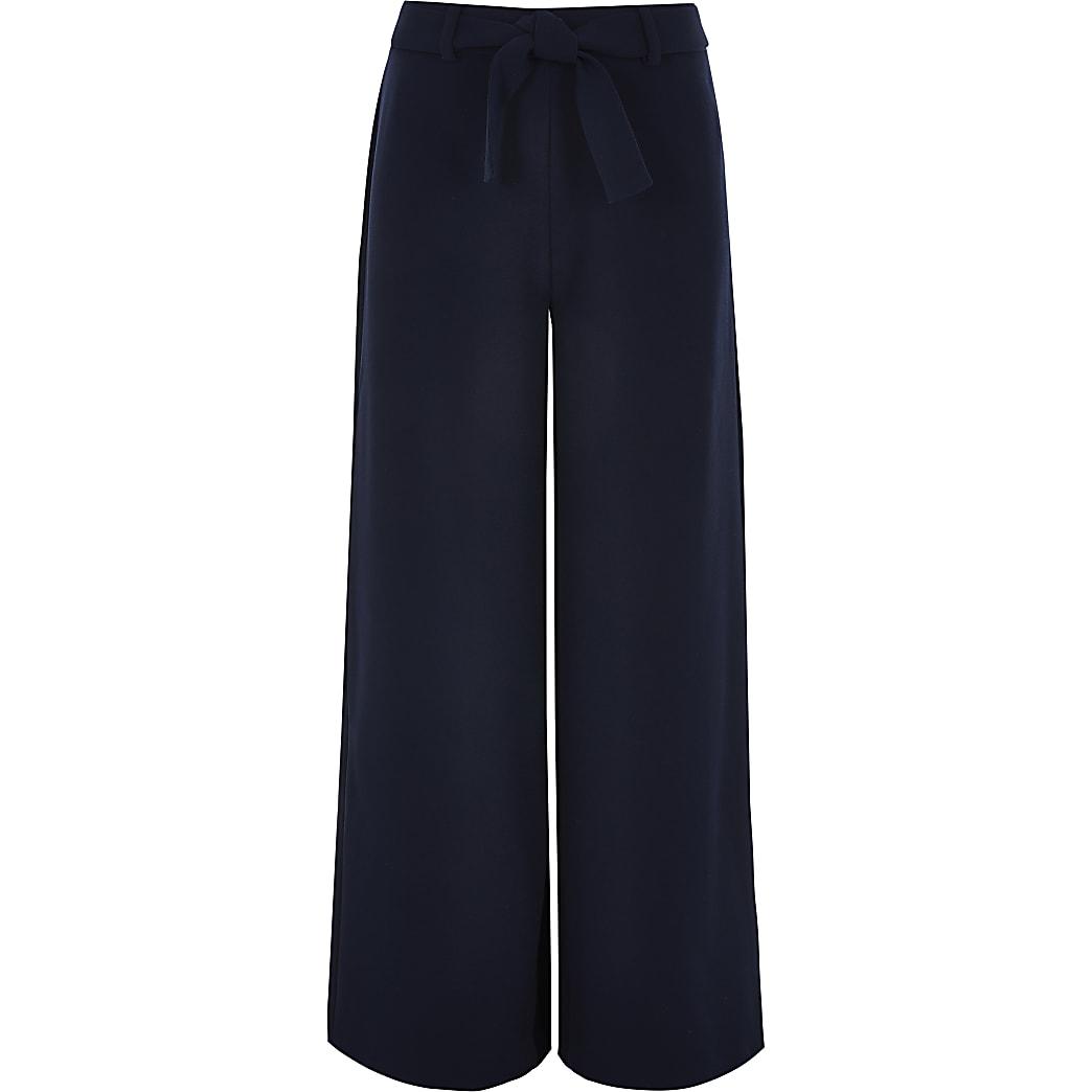Girls navy tie waist wide leg trousers