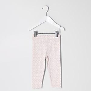 Mini - Roze leggings met RI-monogram voor meisjes