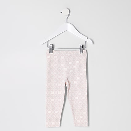 Mini girls pink RI monogram leggings