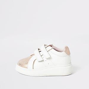 Mini - Roze metallic sneakers met sleehak voor meisjes