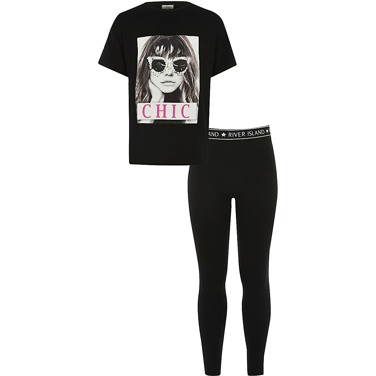 Girls 'Chic' black embellished T-shirt outfit