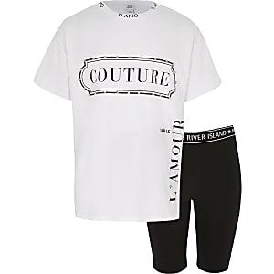 Witte outfit met 'Couture' T-shirt voor meisjes