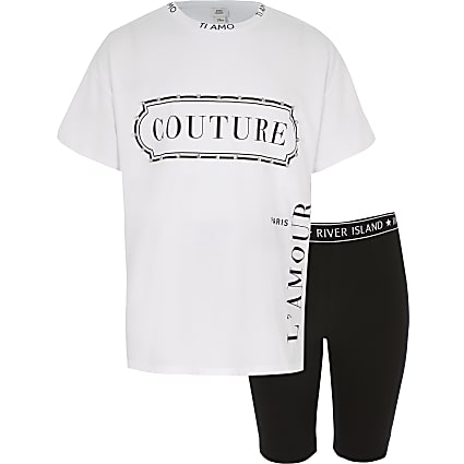 Girls 'Couture' diamante white T-shirt outfit