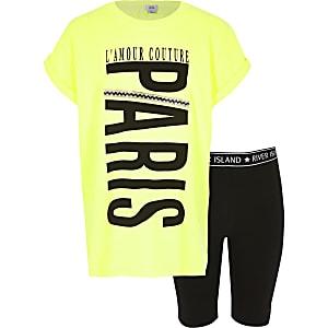 Tenue avec t-shirt jaune fluo« Paris » pour fille