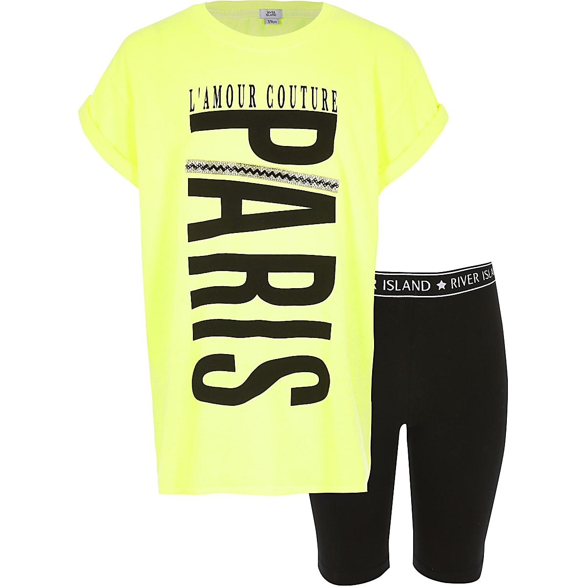 Girls neon yellow 'Paris' T-shirt outfit