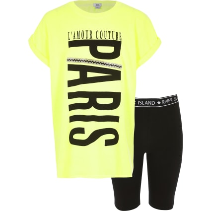 Girls neon yellow 'Paris' T-shirt outfit