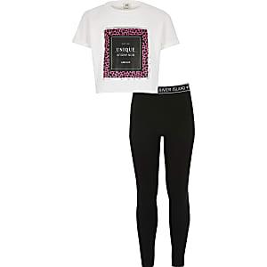 Ensemble blanc avec t-shirt court imprimé pour fille