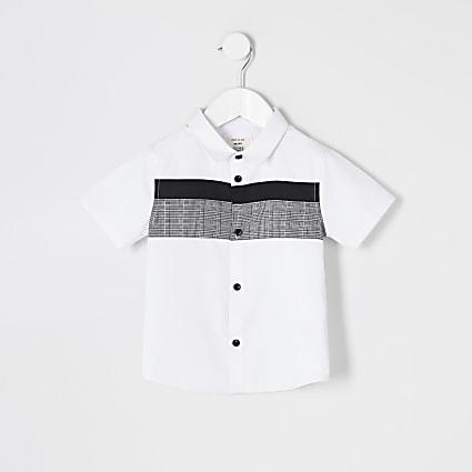 Mini boys white check blocked poplin shirt