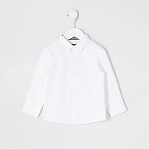 Mini - Wit overhemd met lange mouwen en R-print voor jongens