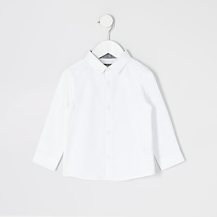 Mini boys white long sleeve R shirt